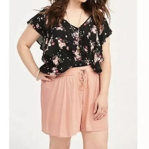 Torrid Lace Up Crepe Shorts Pull On Peach 00